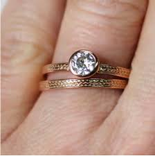 gold wedding set moissanite engagement ring gold wheat metalicious