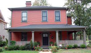 image result for red house color schemes homes with grey roof