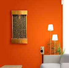 Orange Walls Indoor Wall Fountain From Bamboo Idea In Striking Orange Walls