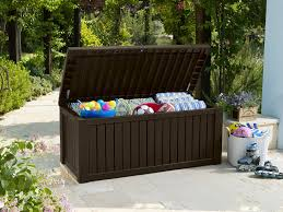 Waterproof Patio Storage Bench by Keter Rockwood Cushion Box Brown 570l Amazon Co Uk Garden