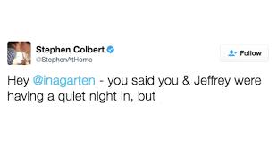 Ina Garten Make A Wish Stephen Colbert Ina Garten Dinner Invitation Tweets