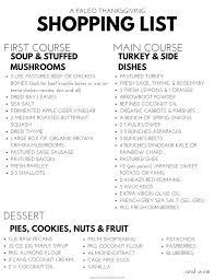 a paleo thanksgiving menu shopping list food m caruso