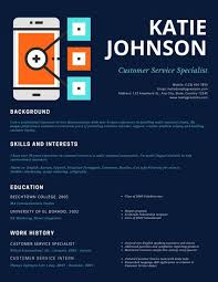 Resume For Customer Service Specialist Blue Simple Phone Illustration Customer Service Resume Templates