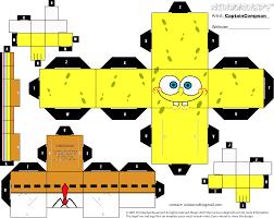brinquedos de papel para imprimir e montar bob esponja geometry