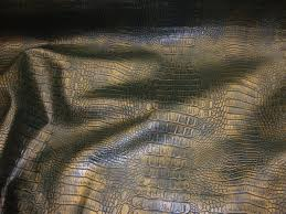 Alligator Upholstery Vinyl Faux Leather Green Gold Allie Embossed Alligator Upholstery
