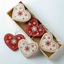 Fabric Heart Decorations Scandi Nordic Christmas Decorations Wooden Fabric Red White