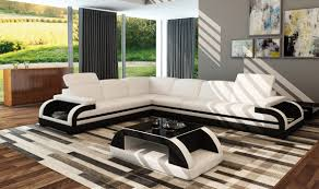 Modern White Bonded Leather Sectional Sofa Casa 5132c Modern White U0026 Black Bonded Leather Sectional Sofa