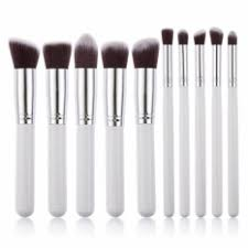 kabuki 10 pcs professional soft make up brush set white silver