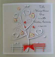 35 wedding anniversary personalised on our 35th coral wedding anniversary card husband