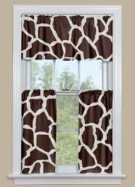 animal print kitchen curtain in brown giraffe design