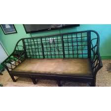 matte black vintage rattan sofa frame aptdeco
