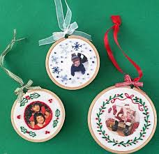 embroidered fabric photo ornaments allfreechristmascrafts