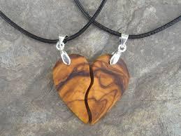 wooden necklaces wooden necklaces 2 necklaces divided heart olive wood a