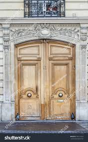 old fashioned front door entrance grey stock photo 196121423