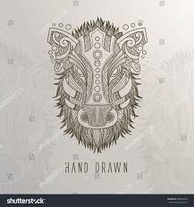 patterned boar head on background tattoo stock vector 648565636