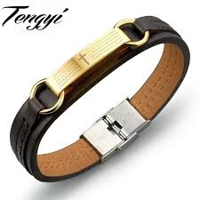 wrap bracelet with anchor images Tengyi vintage genuine pu leather bracelet men anchor cross bible jpg