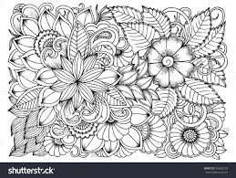 black white flower pattern coloring doodle stock vector 504625135