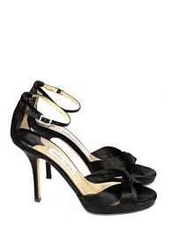 louise paris jimmy choo macy black satin ankle strap heeled