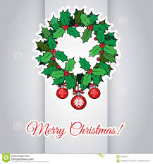 merry christmas card with holly berry wreath stock image image