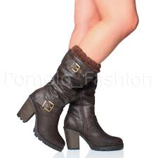 ladies brown biker boots womens ladies high heel chunky knitted cuff buckle zip calf biker