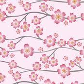 cherry blossom fabric wallpaper gift wrap spoonflower