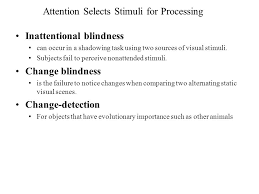 Inattentional Blindness Definition Attention Selects Stimuli For Processing Attention U2014or Selective