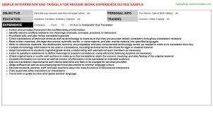 Interpreter Resume Samples by Interpreter And Translator Job Title Docs