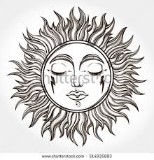 bohemian hand drawn sun vector illustration stock vector 514835893