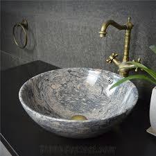 Bathroom Sink Stone China Juparana Pink Granite Round Sink Natural Stone Basin