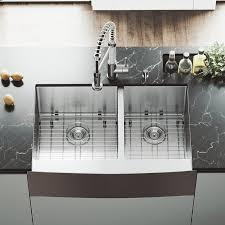 33 inch farmhouse kitchen sink vigo 33 inch farmhouse apron 60 40 double bowl 16 gauge stainless