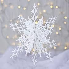 large iridescent white interlocking snowflake ornament