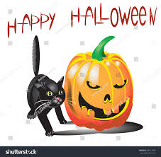 vector illustration halloween pumpkin black cat stock vector