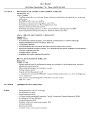 resume exles for therapist travel occupational therapist resume sles velvet