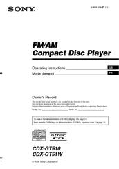 sony cdx gt51w manuals