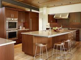 modular kitchen interior with brown cabinet and classic chairs