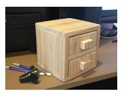 Build A Wood Desk Top by Ana White 1 Board Cedar 2 Drawer Desktop Storage Cube Diy Projects