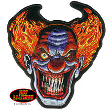 halloween patches leathers angry clown patch
