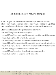 Samples Of A Resume For Job by Top8jollibeecrewresumesamples 150723081958 Lva1 App6891 Thumbnail 4 Jpg Cb U003d1437639644