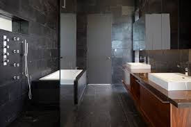 Modern Bathrooms Port Moody - this black granite bathroom is elegant refined and just a touch