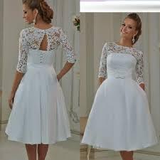 2016 cheap tea length wedding dresses short sheer lace satin