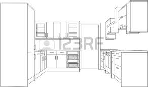 dessiner une cuisine en 3d a 3d single point perspective line drawing of a fitted kitchen