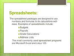 List Of Spreadsheet Software Uses Of Software Packages In Different Areas