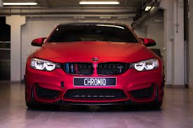 matte red bmw foliering auto ident