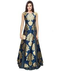 party wear dress buy navy blue printed semi stitched party wear gown online