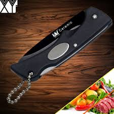 xyj brand outdoor kitchen knife black handle folding ceramic knife