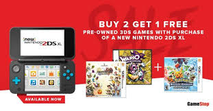 new nintendo 3ds xl black friday buy 2 get 1 free pre owned nintendo 3ds games with purchase of new