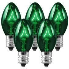 25 pack transparent green c7 light bulbs 5 watt