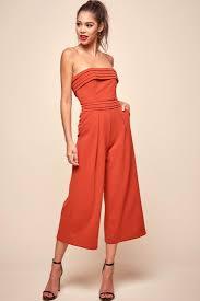 strapless wide leg jumpsuit shop the chosen strapless wide leg jumpsuit orange selfie leslie