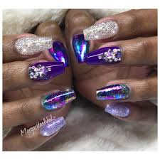 purple coffin nails glitter nail art foil design nail fashion