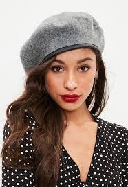 barret hat grey plain beret hat missguided